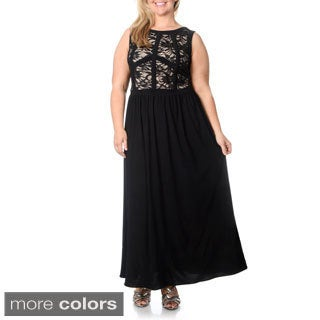 R & M Richards Women's Plus Size Two-tone Sequin Embellished Lace Mapped-bust Gown