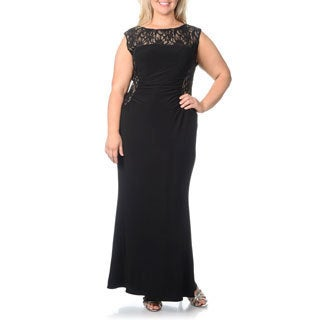 R & M Richards Women's Plus Size Lace and Jersey Gown