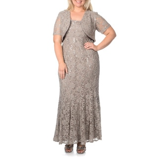 R & M Richards Women's Plus Size Mocha Flared Lace 2-piece Gown
