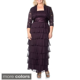 R & M Richards Women's Plus Size Lace Bust Tiered Skirt 2-piece Gown