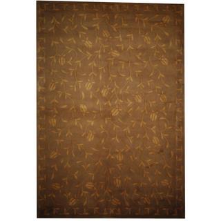 Herat Oriental Fine Tibetan Hand-knotted Grey/ Beige Wool Rug (5' x 8')