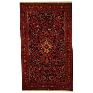 Herat Oriental Antique 1940's Persian Hand-woven Tribal Sarouk Navy/ Red Wool Rug (4'3 x 7')