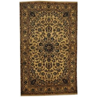 Herat Oriental Persian Hand-knotted Nain Ivory/ Blue Wool and Silk Rug (4'3 x 7')