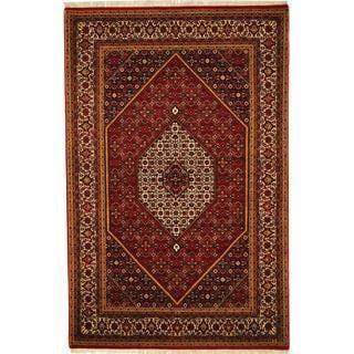 Herat Oriental Indo Hand-knotted Bidjar Rust/ Ivory Wool and Silk Rug (5'4 x 8'3)