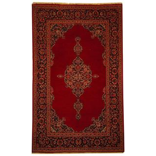 Herat Oriental Antique 1920's Persian Hand-knotted Kashan Red/ Navy Wool Rug (4'5 x 7'3)