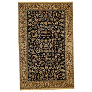 Herat Oriental Persian Hand-knotted Nain Navy/ Ivory Wool and Silk Rug (5'3 x 8'3)
