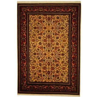 Herat Oriental Turkish Hand-knotted Hereke Ivory/ Rust Wool Rug (5'4 x 7'4)