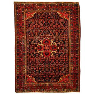Herat Oriental Antique 1940's Persian Hand-knotted Tribal Hamadan Navy/ Rust Wool Rug (4'10 x 6'7)