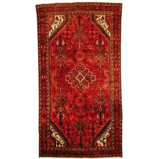Herat Oriental Antique 1940's Persian Hand-knotted Tribal Hamadan Red/ Ivory Wool Rug (4'9 x 9')