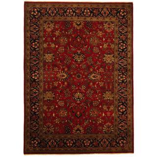 Herat Oriental Indo Hand-woven Sarouk Burgundy/ Ivory Wool Rug (5'x 7')