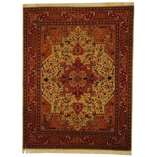 Herat Oriental Persian Hand-knotted Tabriz Beige/ Rust Wool and Silk Rug (5' x 6'6)