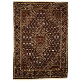Herat Oriental Persian Hand-knotted Tabriz Black/ Ivory Wool and Silk Rug (5'6 x 7'9)