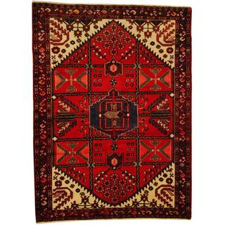 Herat Oriental Persian Hand-knotted Tribal Hamadan Red/ Navy Wool Rug (5'1 x 7')