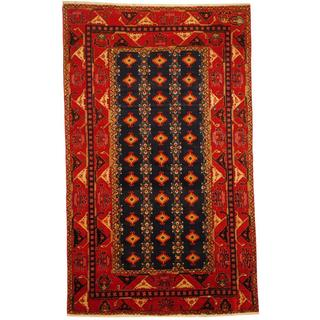 Herat Oriental Persian Hand-knotted Tribal Hamadan Navy/ Red Wool Rug (4'6 x 7'5)