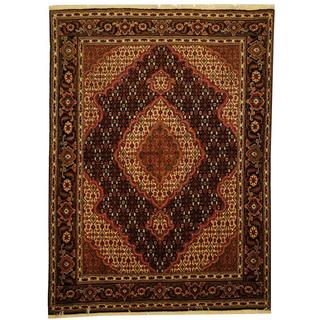 Herat Oriental Persian Hand-knotted Tabriz Black/ Ivory Wool and Silk Rug (5' x 6'8)