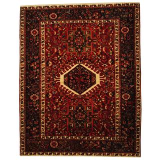 Herat Oriental Antique 1940's Persian Hand-knotted Karaja Red/ Navy Wool Rug (5' x 6'3)