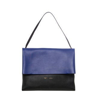 Celine 'All Soft' Black and Royal Blue Colorblocked Leather Shoulder Bag