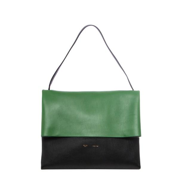 Celine \u0026#39;All Soft\u0026#39; Black and Green Colorblocked Leather Shoulder ...