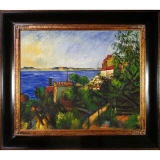 Paul Cezanne 'La Mer Al'Estaque' Hand Painted Framed Canvas Art