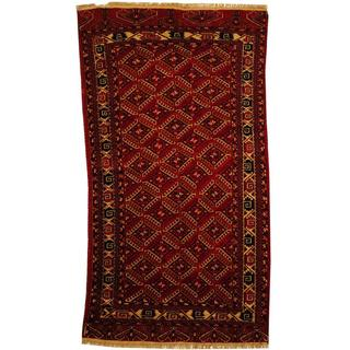 Herat Oriental Antique 1920's Afghan Hand-knotted Turkoman Rust/ Ivory Wool Rug (4'4 x 8')