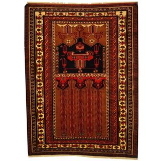 Herat Oriental Persian Hand-knotted Kurdish Brown/ Ivory Wool Rug (4'8 x 6'3)