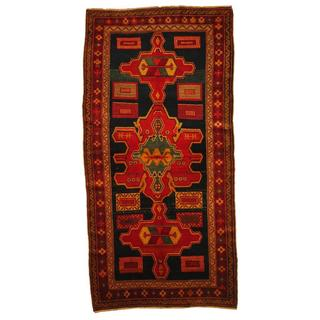 Herat Oriental Antique 1920's Persian Hand-knotted Kurdish Navy/ Red Wool Rug (4'5 x 8')