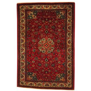 Herat Oriental Antique 1920's Persian Hand-knotted Kashan Red/ Ivory Wool Rug (4'6 x 6'10)