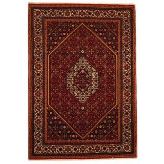 Herat Oriental Indo Hand-knotted Bidjar Rust/ Ivory Wool and Silk Rug (4'10 x 6'10)