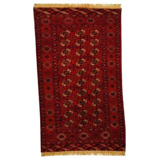 Herat Oriental Antique 1920's Afghan Hand-knotted Turkoman Rust/ Navy Wool Rug (4' x 6'10)