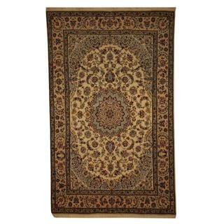 Herat Oriental Persian Hand-knotted Nain Ivory/ Beige Wool and Silk Rug (4'7 x 7'5)