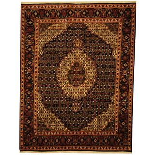 Herat Oriental Persian Hand-knotted Tabriz Black/ Ivory Wool and Silk Rug (5' x 6'7)