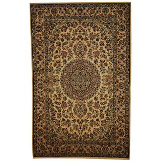 Herat Oriental Persian Hand-knotted Nain Ivory/ Blue Wool and Silk Rug (5' x 7'10)