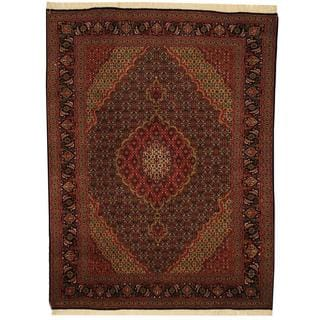 Herat Oriental Persian Hand-knotted Tabriz Navy/ Rust Wool and Silk Rug (5'1 x 6'8)