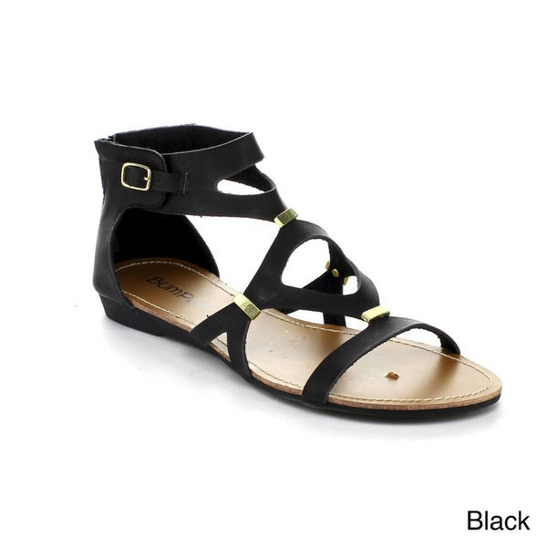 Bumper Women's 'Lory-111' Cut-out Metallic Accent Sandals