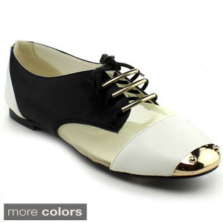 Bumper Women's 'Jolie-06' Colorblocked Mixed Media Oxford Shoes