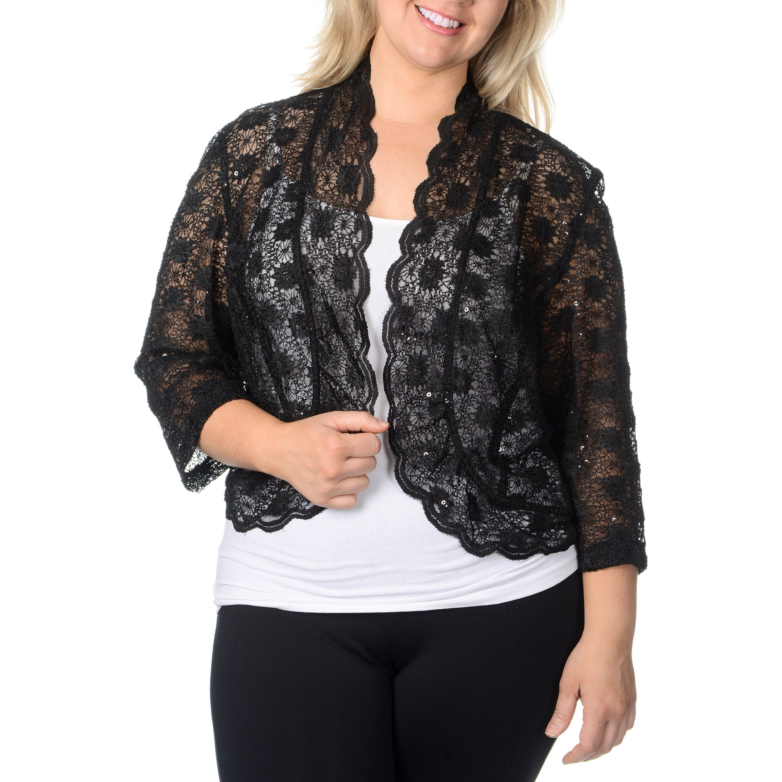 R & M Richards Women's Plus Size Black Lace Shrug at Sears.com