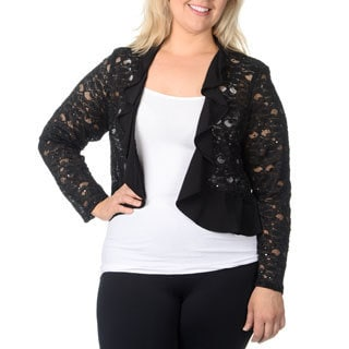 R & M Richards Women's Plus Size Black Satin Trim Lace Shrug