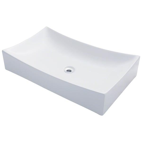 ... Unique Rectangle Shape White Porcelain Ceramic Bathroom Vessel Sink