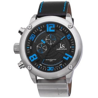 Joshua & Sons Men's Multifunction Double-Layered Dial Leather Blue Strap Watch