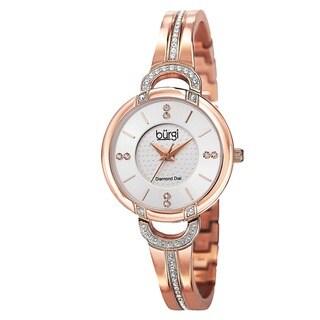 Burgi Women's Swiss Quartz Diamond Stainless Steel Bangle Watch
