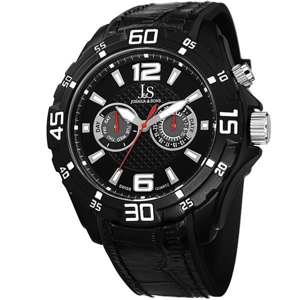 Joshua & Sons Men's Multifunction Swiss Quartz Layered Strap Watch