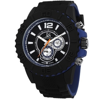 Joshua & Sons Men's Multifunction Dual Time Silicone Strap Watch