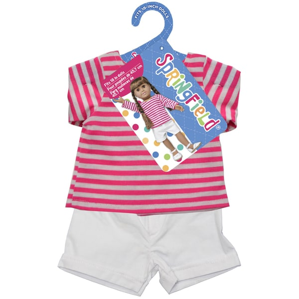 Springfield Collection Shirt and Shorts-Pink Striped Shirt