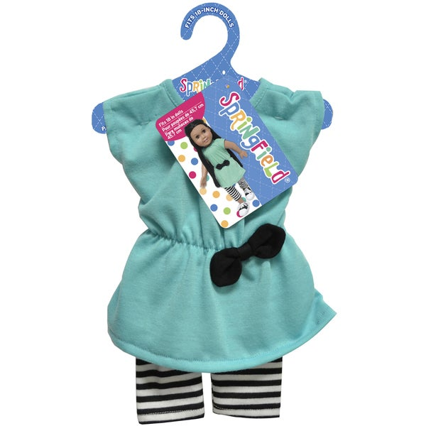 Springfield Collection Tunic W/Leggings-Aqua Tunic and Striped Leggings