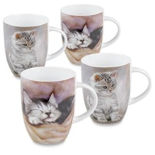 Konitz Sleeping Kitten Cat Mugs (Set of 4)