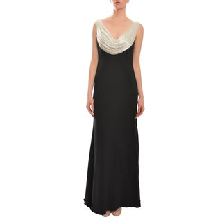 Carmen Marc Valvo Women's Cowl Neck Beaded Two-tone Evening Dress