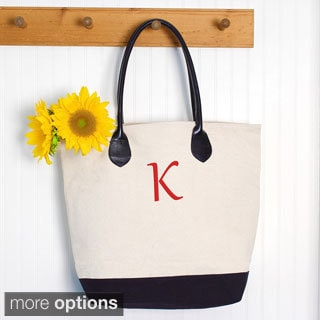 Monogrammed Canvas Tote Bag with Leather Straps