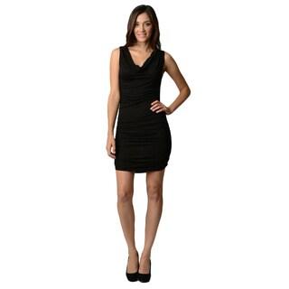 Stanzino Women's Cowl Neck Sleeveless Ruched Stretch Dress