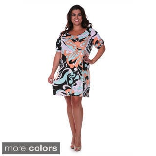 White Mark Women's Plus Size Printed Dress