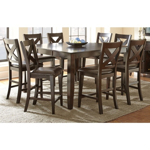 copley solid wood counter height dining set with self storing leaf